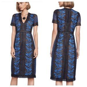 BCBG Cinthya Blue Lace V-Neck Sheath Midi Dress